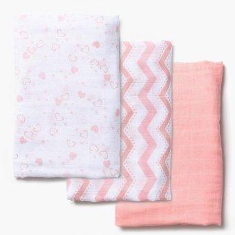 Enfant 3-piece Cotton Swaddle Blanket (Pink)