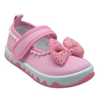 Enfant Baby Doll Shoes Pink Bow (Pink)