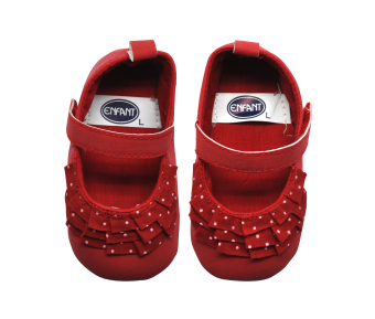 Enfant Baby Girl Shoes with Folded Cloth and Polka Dots Design (Red) - 3