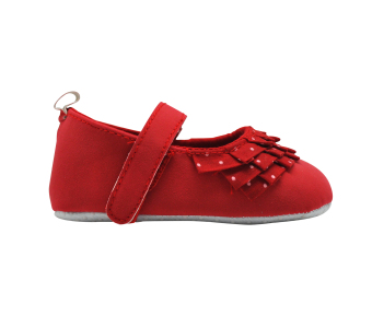 Enfant Baby Girl Shoes with Folded Cloth and Polka Dots Design (Red) - 2