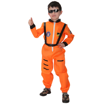 EOZY Kids Astronaut Costume Child Profession Cosplay Outfit Boys Fantasia Halloween Fancy Dress -M (Orange)