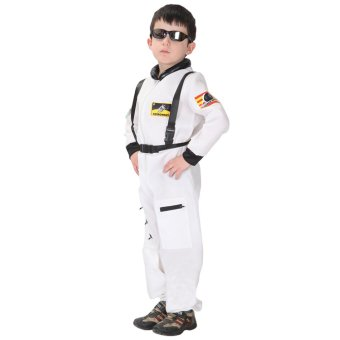 EOZY Kids Astronaut Costume Child Profession Cosplay Outfit Boys Fantasia Halloween Fancy Dress -M (White) - 4