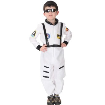 EOZY Kids Astronaut Costume Child Profession Cosplay Outfit Boys Fantasia Halloween Fancy Dress -M (White)