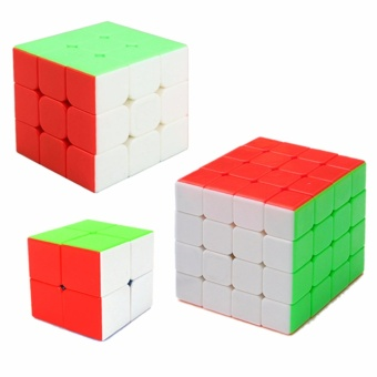 EverSpeed 2x2, 3x3, 4x4 Speed Rubik's Cube Bundle Set RedStickerless - 4
