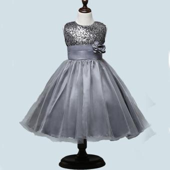Fashion Gilrs Sleeveless Princess Party Birthday Wedding SequinFlower Lace Dress(Grey) - 3