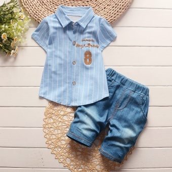 Fashion Summer Boys Clothing Sets Gentleman Clothes Suits Kids Sweatshirt Child Formal Shirt+Short Jeans (Blue) - intl