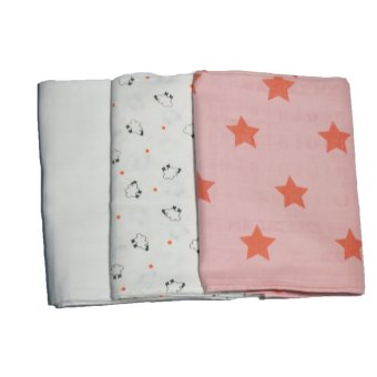 Feo en Rafa Muslin Swaddle Set of 3 (White/Stars/Sheep)