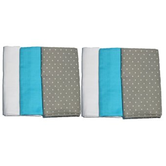 Feo en Rafa Muslin Swaddle (White/Aqua/Stars) Bundle of 6