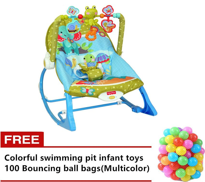Fisher-Price Infant-to-toddler Rocker (Elephant Friends) with FreeColorful swimming pit infant toys 100 Bouncing ballbags(Multicolor)