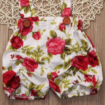 Floral Toddler Baby Girls Rose Shorts Pants Headband Summer OutfitsClothes 0-3Y (12-18 months) - intl - 5