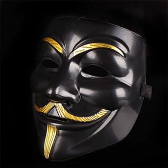 GAKTAI V for Vendetta Mask Anonymous Guy Fawkes Fancy Dress FancyCostume Ccosplay (Black) - Intl - 4