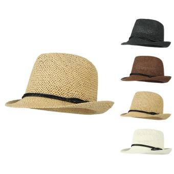 GEMVIE British Style Boys Sun Hat Boys Wide Brim Woven Straw Hat(Yellow) - intl Price Philippines