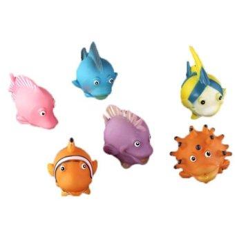 Generic Soft Rubber Fake Fish Vinyl Plastic Figure Cute Toy Purple Orange 6pcs