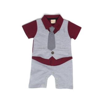 Gentlemen Suit Romper Light Grey for 9 to 12 Months Old