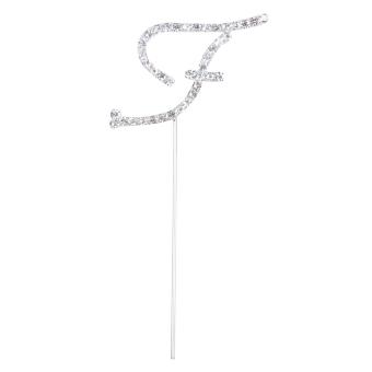 Glittering Diamante Letter F Monogram Cake Toppers for Wedding Birthday (Intl) - picture 2