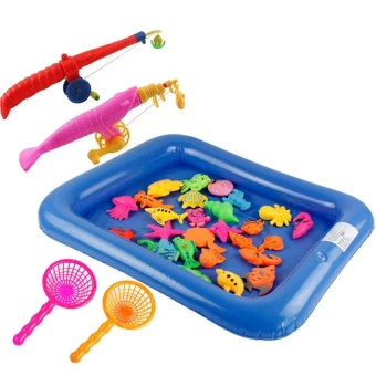 Golden age Baby Kid Toy Magnetic Fishing Two Rods with pool - 3