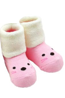 Hang-Qiao Children Baby 1-3 Year Old Slipper Stocking Shape Animal Socks (Pink)