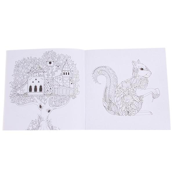 Hang Qiao Secret Garden Enchanted Forest Coloring Book Black And White