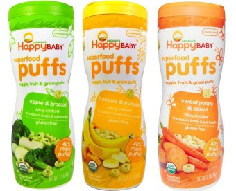 Happy Baby Puffs Bundle of Apple and Broccoli, Banana and Pumpkin, Sweet Potato and Carrot