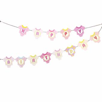 Happy Birthday Party Banners Cute Onesies Design (Pink)