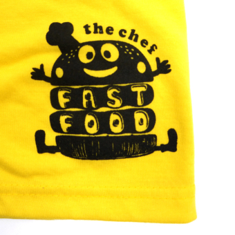 HAPPY KIDS Basic Sando and Shorts Fast Food of The Year Design(Yellow) - 5