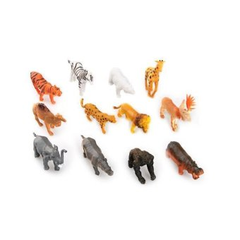 Hard Plastic Wild Animals Figures Set + Coconut Tree Toy Kid Children 12 pcs