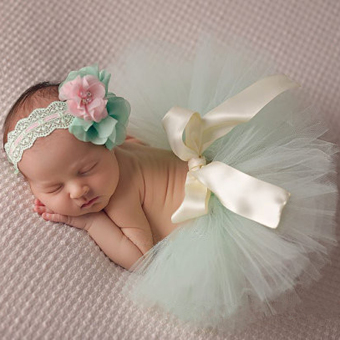 HengSong 30 Days Newborn Photography Props Infant Costume Outfit Princess Baby Tutu Skirt Headband Light Green - Intl