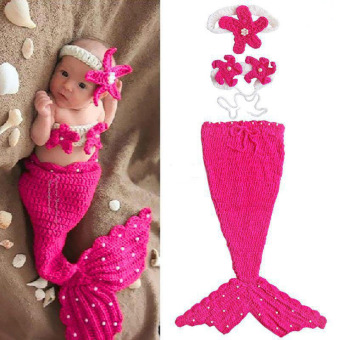 HengSong Newborn Photography Props Baby Costume Mermaid Infant Knitting Newborn Crochet Outfits Rose Red - Intl