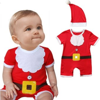 Hibote Baby Toddler Christmas Santa Claus Costume ROMPER + HAT 2-Piece Outfit 90 - intl