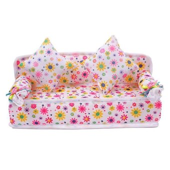 HKS Chic Mini Furniture Flower Soft Sofa Couch With 2 Cushions For Doll House - Intl