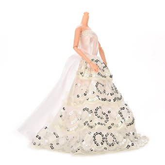 HKS Doll Long Dress Silver Sequins Lace For Barbie (White) - Intl