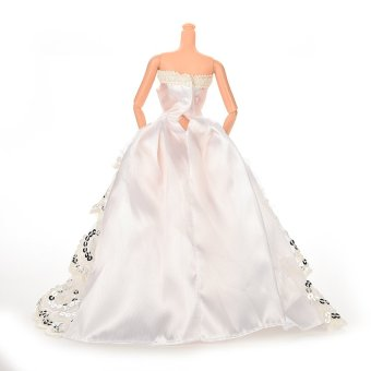 HKS Doll Long Dress Silver Sequins Lace For Barbie (White) - Intl - picture 2