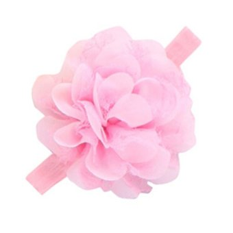 HKS Infant Toddler Girl Chiffon Flower Headband Floral Hair Band Headdress Pink - Intl