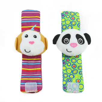 Hot Cute Soft Toy Animal Baby Infant Kids Hand Wrist Bells Foot Sock Rattles New (Intl)