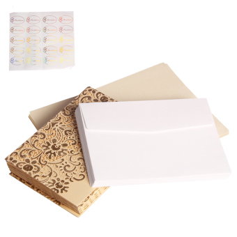 Andux 20 pcs/set Wedding Engagement Invitations Kits JHQJ-01 (Gold) Price Philippines