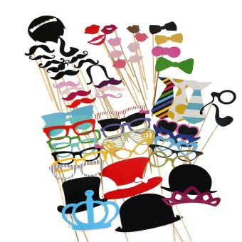 Harga 60pcs DIY Kit Party Dress-up Accessories PhotoBooth Props