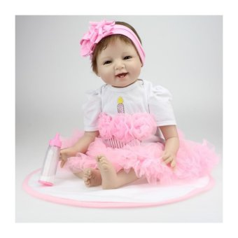 22 inch Silicone Reborn Babies Dolls Brinquedos Girls Vinyl Realistic Newborn Doll For Girls Play House Toys - intl Price Philippines