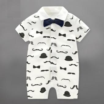 Baby Boy Rompers Children Summer Beard Style Gentleman Bow One-piece Tie Boy Suits - intl Price Philippines