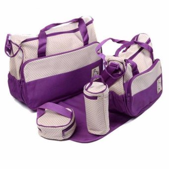 New Mommy Travel Tote Diaper Bag Polka Dot Diaper Bags Multifunction Diaper Organizer Set: Diaper Bag / Changing Pad / Wipe Container 5 in 1 (Purple) Price Philippines