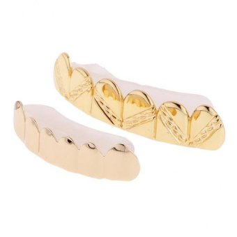 Harga MagiDeal Unisex Custom Gold Plated Hip Hop Twill Style Top Bottom Teeth Grillz - intl