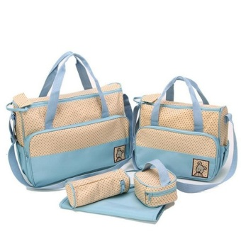 5 in 1 Mommy Travel Tote Polka Dot Diaper Bags Multifunction Diaper Organizer Set (Lt. Blue) Price Philippines