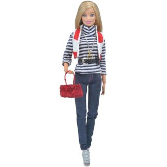 Doll Fashion Clothes Stripe T-shirt Jeans with Handbag Set Casual Wear for Barbie Dolls - intl Price Philippines