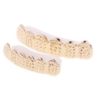 Harga MagiDeal Hip-Hop Carved 18K Gold Plated Mouth Caps Teeth Grills Top&Bottom Grillz Set - intl