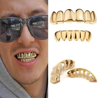 Harga Cocotina 1 Set Gold Plated Hip Hop Teeth Grillz Top & Bottom Grill Teeth Grills Fashion - intl