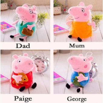 "4Pcs Peppa Pig Family Plush Stuffed Toy 12"" DADDY MOMMY 8"" PEPPA GEORGE - intl Price Philippines"