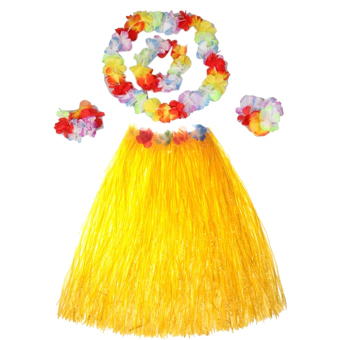 Harga Hot Dazzling Hawaiian Luau Party Decorations Costumes Set with 40CM Length Skirt + Headwear Headband + Lei Garland + Wristbands Yellow