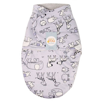 Harga Short Plush Double Little Swaddle For Baby Gray Animals