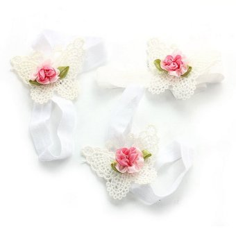 Harga Newborn Baby Butterfly Headband Headdress Foot Flower Photo Prop white