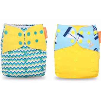 Harga 2x Happy Flute washable Bamboo Nappy Cloth Diaper (chevron/yellow boat flap)