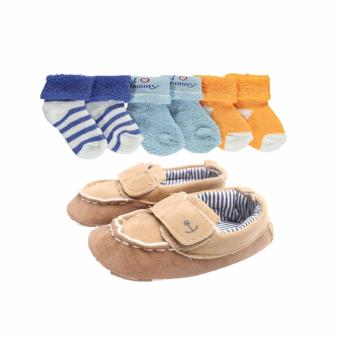Luvable Friends 1 Shoe and 3 pairs of socks for Boy 0-6 months (Mommy) Price Philippines